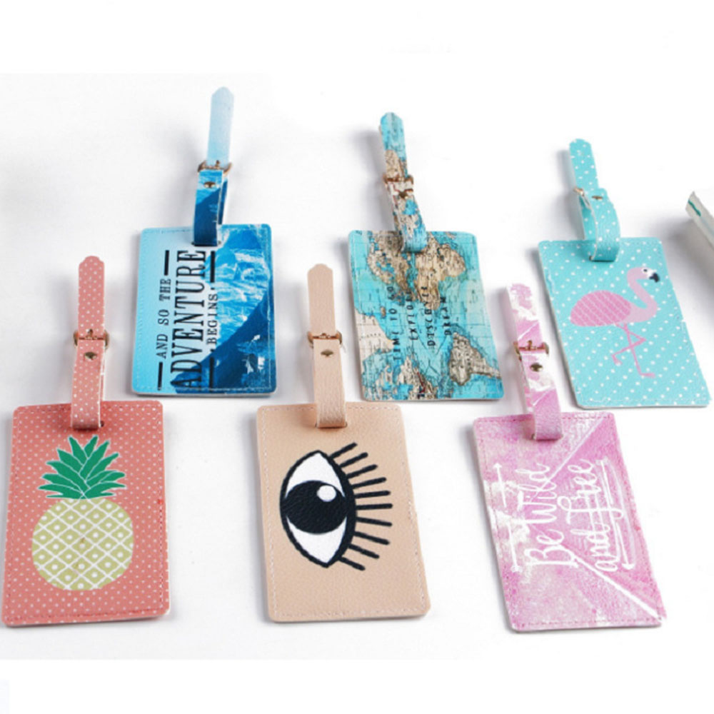Newly Big Eye Pineapple Flamingos Luggage Tag Travel Suitcase Bag Id Tags Address Label Baggage Card Holder Travel Accessories