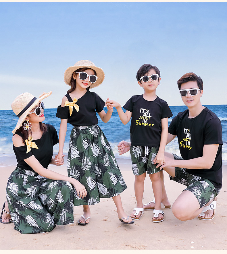 H55f3805ac11f464c9d4d1f6104e06cd0j - Matching Family Outfits Summer Mum Daughter Dad Son Cotton T-shirt +Pants Holiday Seaside Beach Couples Matching Clothing