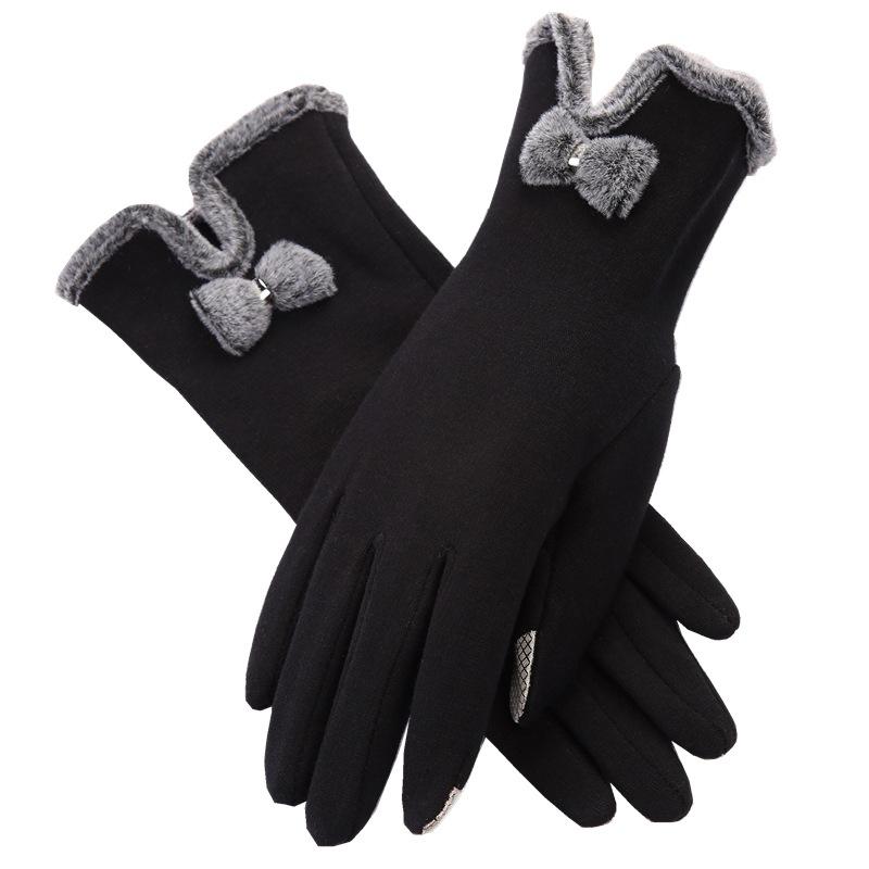 Brand New Touch Screen Gloves Women's Autumn Winter Bow Velvet Warm Mittens Glove Female Cycling Cute Burrow Outdoor Gloves