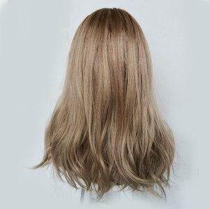Image 3 - ALAN EATON uzun dalgalı peruk kadın kahverengi sarışın doğal saç peruk kadın sentetik kahküllü peruk ısıya dayanıklı iplik Cosplay saç
