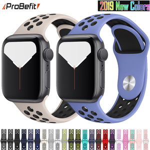 New Breathable Silicone Sports Band for Apple Watch 5 4 3 2 1 42MM 38MM rubber strap bracelet bands for Iwatch 5 4 3 40mm 44mm(China)