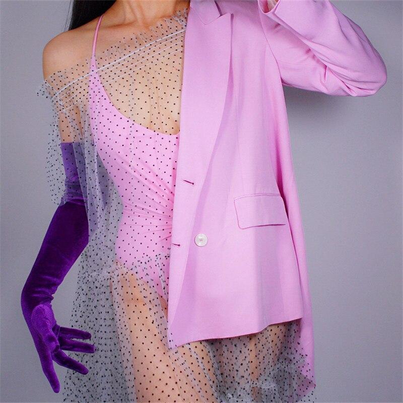 2020 New Velour Long Gloves 60cm Long Section Dark Purple Female Models High Elastic Swan Velvet Gold Velour Touchscreen WSR14