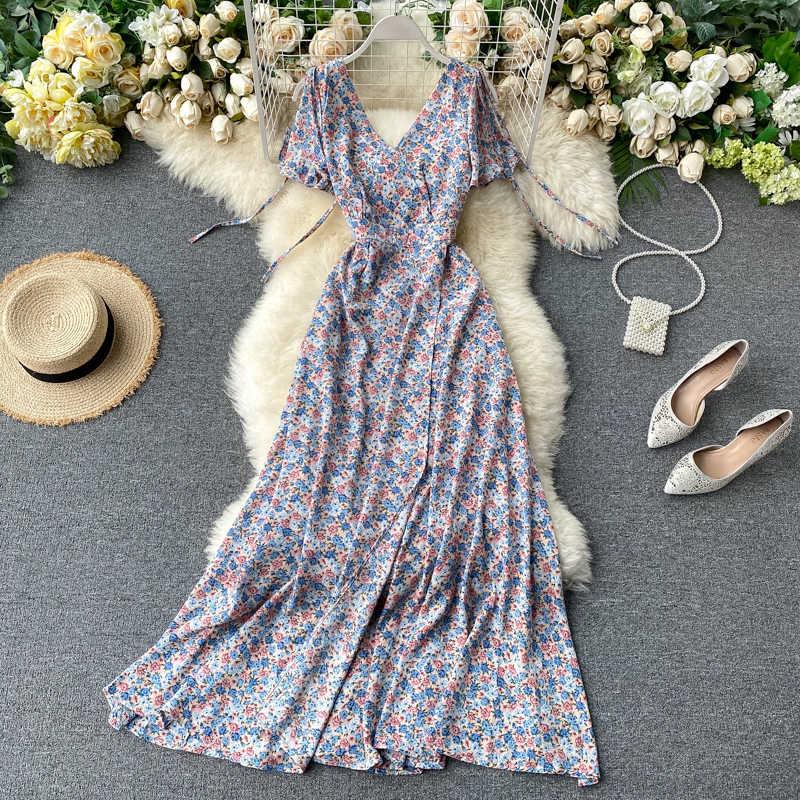 SINGRAIN קיץ נשים פרחוני מקסי שמלה בוהמי אלגנטי שיפון פרח רומנטי שמלות בציר פיצול ארוך הדפסת החוף קיצי