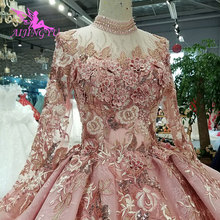 AIJINGYU Eenvoudige Trouwjurken Dragen Voor Bruid Satin Designer Die Nieuwste Plus Size Gown Met Trein Bloemen Trouwjurk