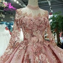 AIJINGYU Einfache Hochzeit Kleider Tragen Für Braut Satin Designer, Die Neueste Plus Größe Kleid Mit Zug Floral Hochzeit Kleid