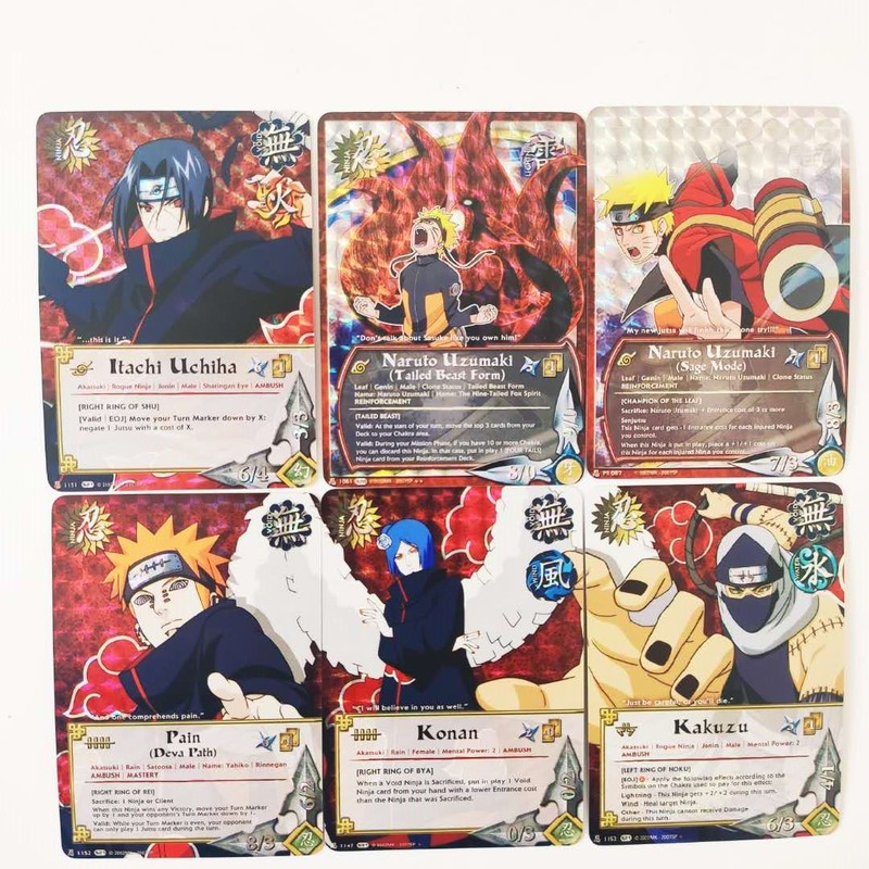 55pcs/set Naruto Uchiha Sasuke Uchiha ObitoJiren Splicing Card Game Action Toy Figures Commemorative Edition Collection Cards