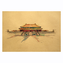 цена на Beijing Royal Palace Sketch Edition Kraft Poster Room Decoration Bar Restaurant Decoration Art Wall Stickers