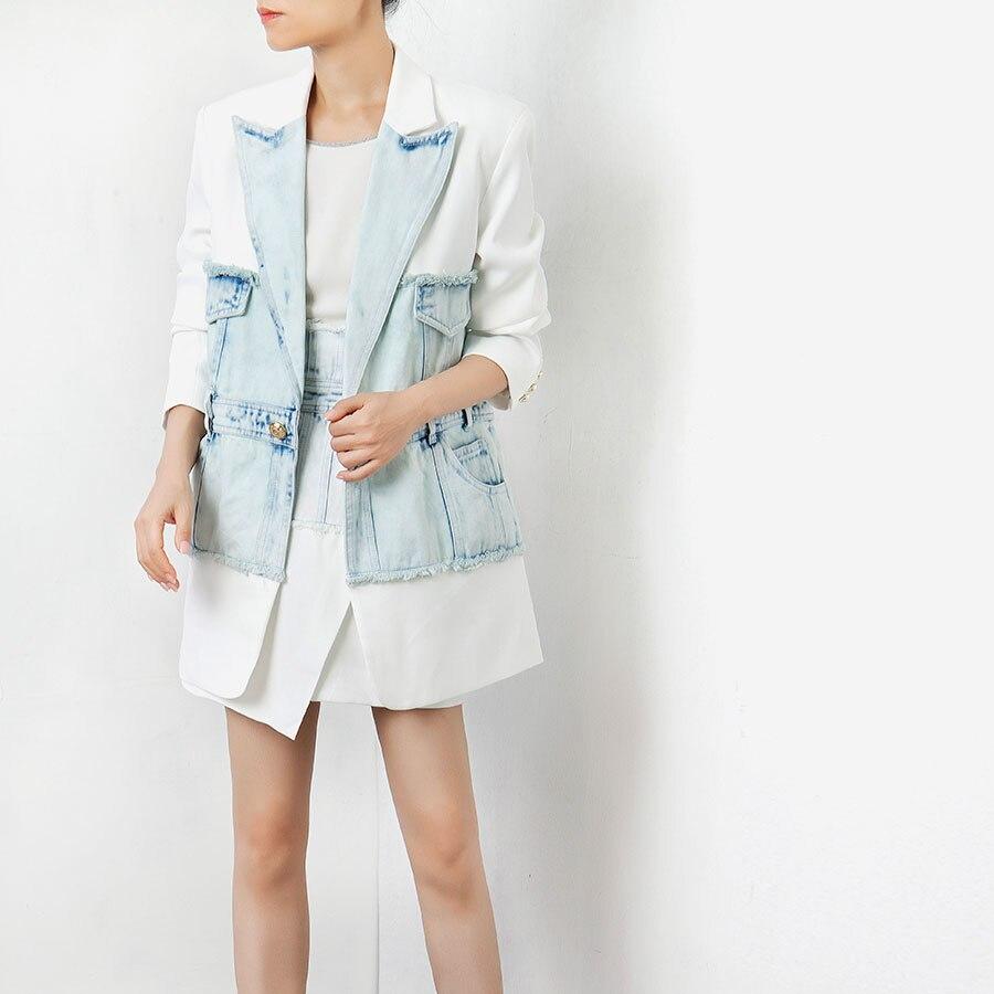 2019 neue Ankunft Frauen Mode Jacken Lange Hülse Lose Stil Mäntel und Jacken Frauen Jacken Hohe Qualität Patchwork Outfits-in Basic Jacken aus Damenbekleidung bei  Gruppe 1