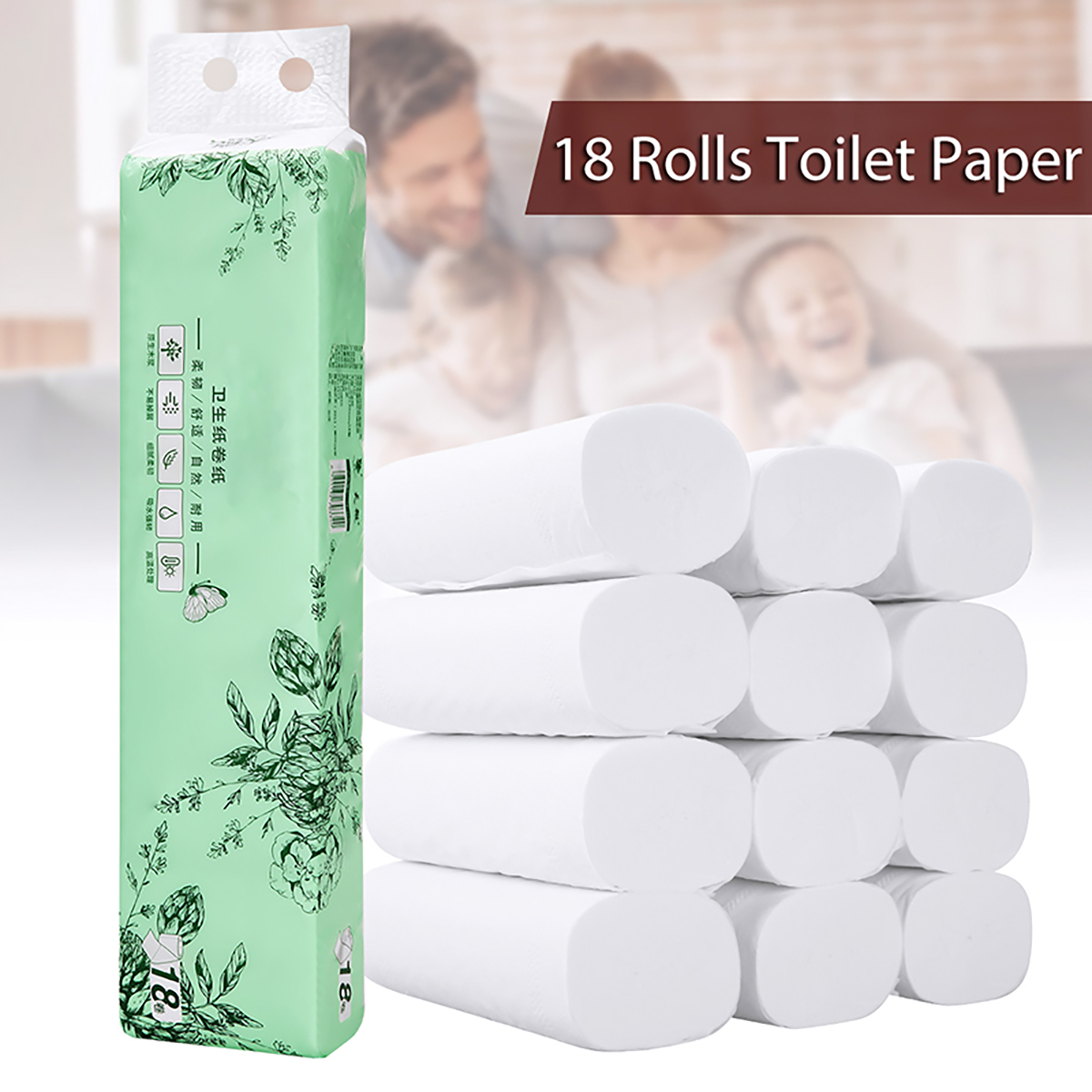 18 Rolls Natural Wood Pulp Toilet Paper White 4Ply Bulk Tissue Household Bathroom Coreless Roll Toilet Tissue