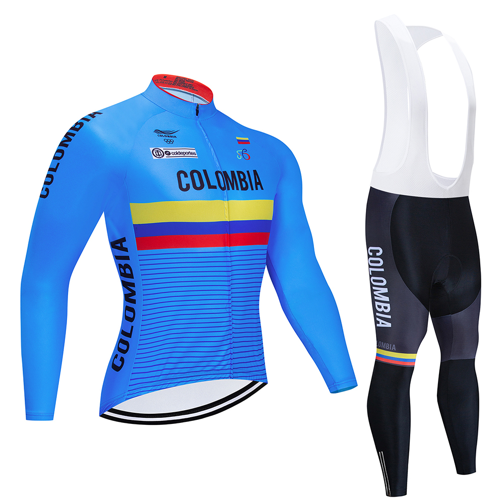COLOMBIA Team Cycling jersey Long sleeve kit clothes bike clothing bib Pants 19D gel pad ropa ciclismo uniformes bicycle