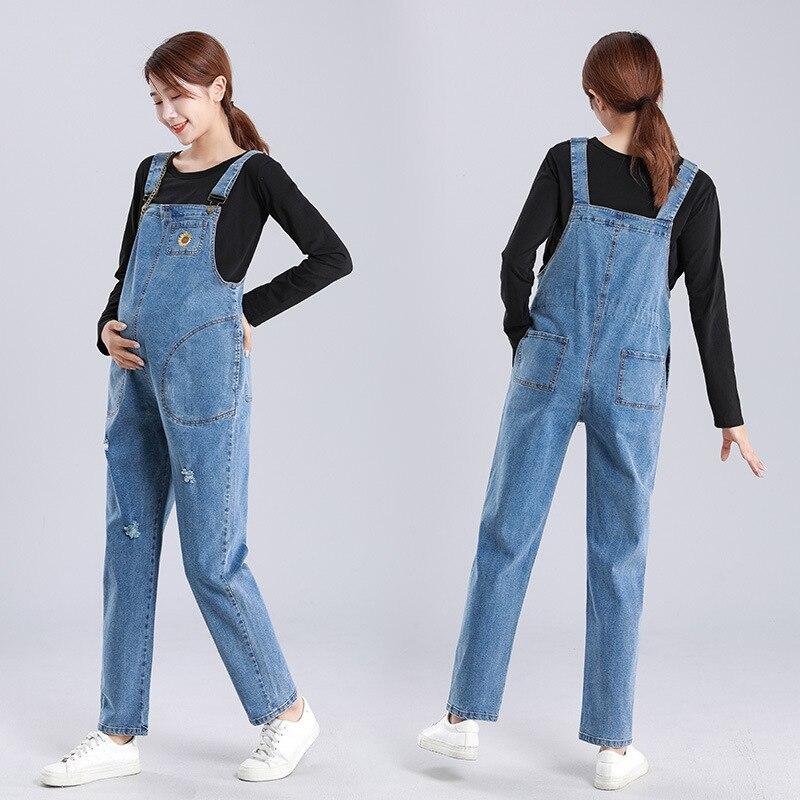 2PCS Women Denim Overalls Pregnancy Plus Size Jeans Elasticity Maternity Suspender Jumpsuits Rompers Pants With T Shirt M-5XL