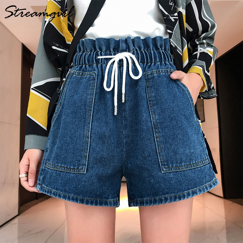 Streangirl Summer Denim Shorts For Women Plus Size Lace Up Women's High Waist Summer Jeans Shorts Women Plus Size Short Jeans