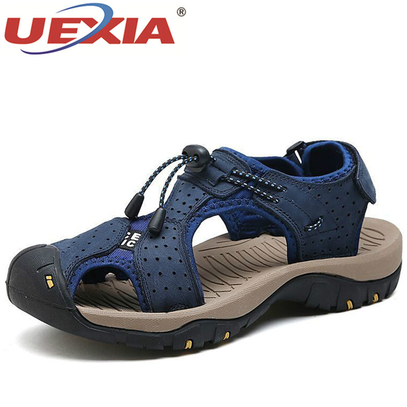UEXIA High Quality Fashion Leather Outdoor Sport Summer Men Shoes Beach Sandals For Man Fashion Brand Outdoor Casual Sneakers