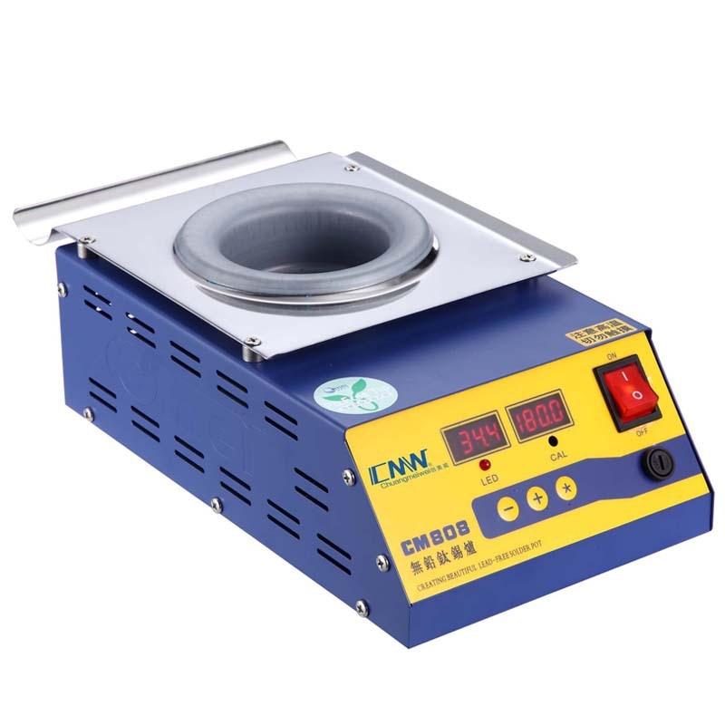CM-808 Round High Temperature Lead Free Soldering Pot Titanium Solder Furnace Tin Melting Digital Display 220V 110V 0-600C 400W