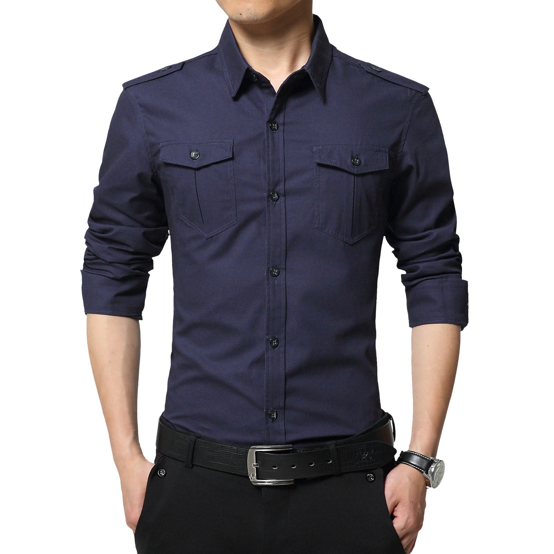 2018 Autumn New Style Men Pure Cotton Long-sleeved Shirt Men's Korean-style Slim Fit Youth Autumn Shirt Military Style Shirt