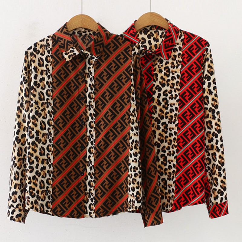 X Fashion Blouse Women Vintage Leopard Stitching Print Blouses Lapel Shirt Loose Single-breasted Long Sleeve Blusas Mujer!