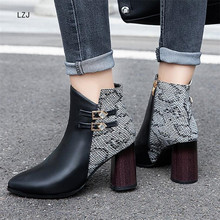 LZJ 2019 Winter Fashion Snake Women Boots Pointed Toe Square Heel Ankle