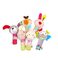 Baby Cute Rattles Toys Cute Stuffed Handbells Hand Bell Multifunctional Animal Squeaker Bar Baby Toys Hand Plush Doll 40% off