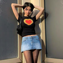 Cropped Tops Short-Sleeve Black t-Shirts Graphic Y2k Streetwear E-Girl Heart Vintage