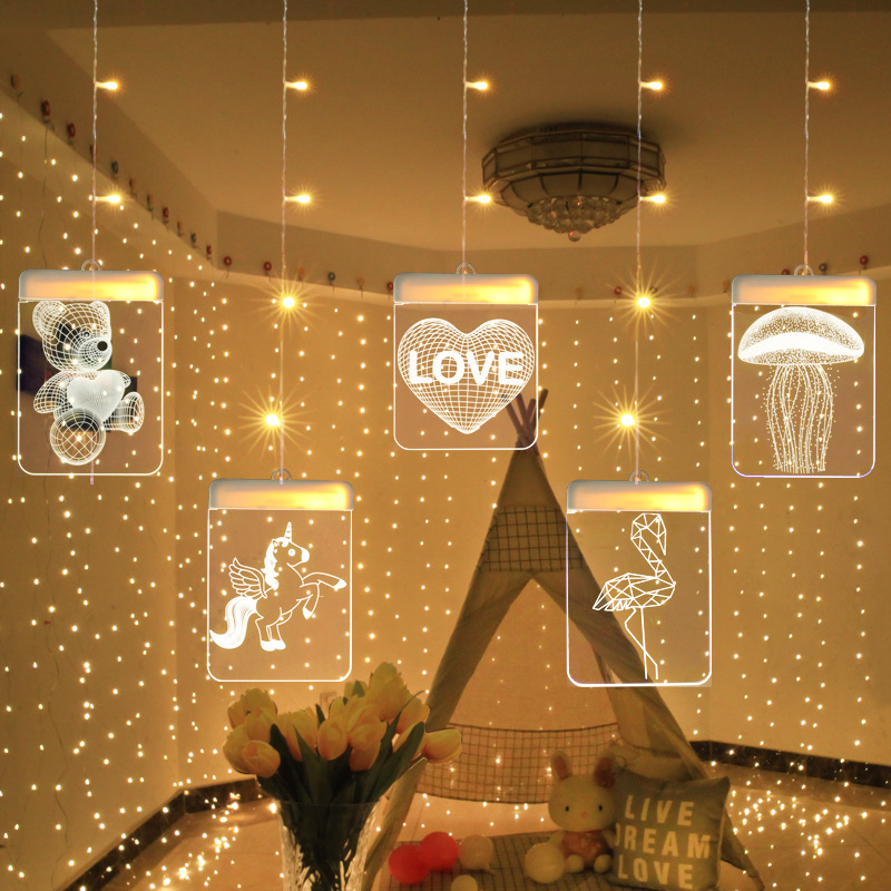 LED Unicorn Chirstmas Cutrain Lights Marriage Confession String Fairy Light Hanging Wall Lamp For Party Wedding Birthday Decor