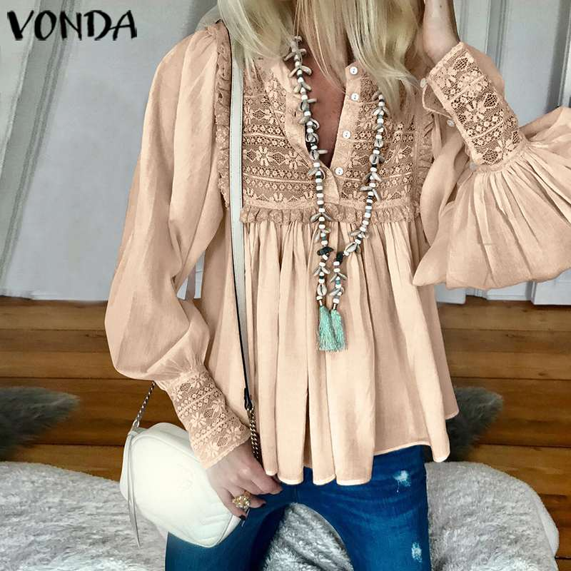 VONDA 2020 Women Blouses And Tops Spring Summer Sexy V Neck Long Lantern Sleeve Shirts Femme Solid Color Party Blusas S-5XL