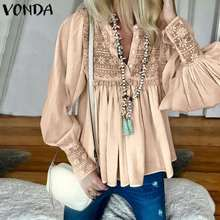 VONDA 2020 Women Blouses And Tops Spring Summer Sexy V Neck Long Lantern Sleeve Shirts