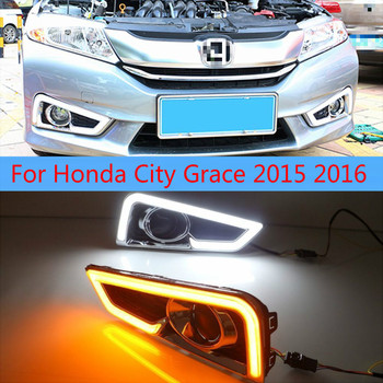 1 set for Honda City Grace 2015 2016 LED DRL with turn signal relay 12V Car daytime running lights Fog lamp Accessories