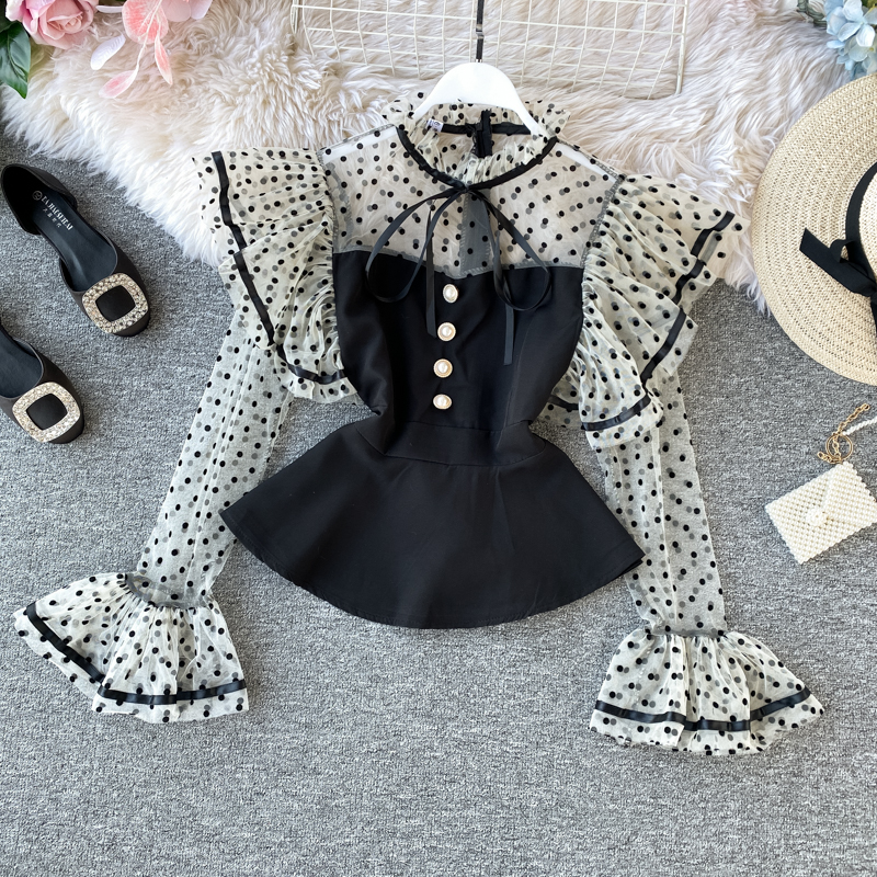 Women's French Vintage Shirt Spring Autumn New Temperament Tops Wave Dot Mesh Patchwork Ruffled Flare Sleeve Shirt Tops ML686