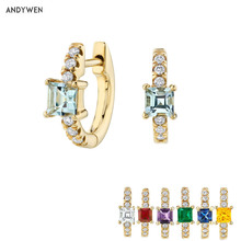ANDYWEN 925 Sterling Silver Light Blue 8mm Huggies Middle Hoops Earring Special Crystal Zircon Piercing Ohrringe Women Jewelry