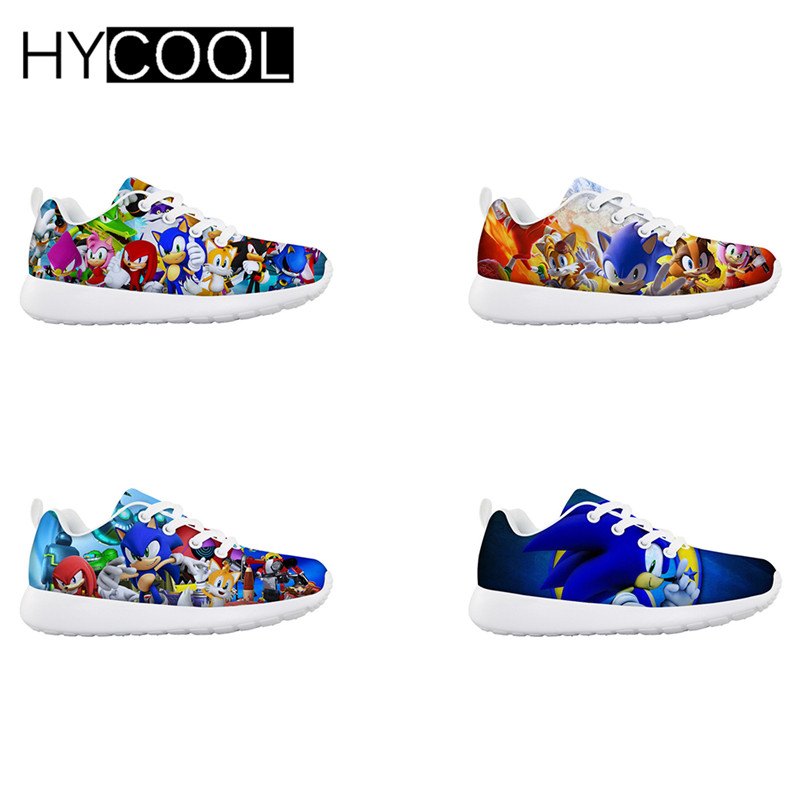 HYCOOL Kids Running Flats Shoes All-in Sonic The Hedgehog Printed Sport Sneakers Mesh Tenis Infantil Menino Gym Boys Girl Shoe