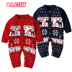 Boże narodzenie Boys Baby pajacyki renifer dzianiny Infantil kombinezony małe dziewczynki noworoczny kostium dzieci ciepła wełna ubrania 0-3Y