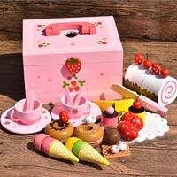 36PCS Wood DIY Pretend Play Fruit Cutting Birthday Cake Kitchen Food Toys Cocina De Juguete Toy Pink Girls Gift for Children