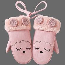 Зимние розовые детские перчатки с героями мультфильмов, толстые меховые варежки, кожаные Детские Термо кашемировые перчатки ручной работы, кашемировые теплые длинные перчатки