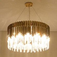 Postmodern Gold Crystal Luxury Stainless Steel Bending Kitchen Island Lamp Living Room Lamp Chandelier Hotel Kitchen Tool