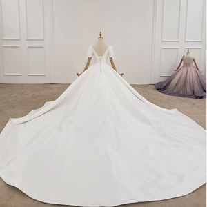 Image 2 - HTL1372 Deep V Wedding Dress Half Sleeve Luxury Wedding Dress Front And Cuff With Bow Wedding Gowns Ball trouwjurken
