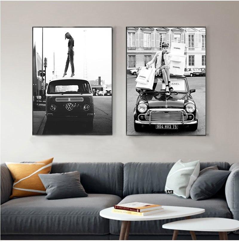 Винтажные плакаты в стиле ретро, черные, белые фото, винтажные уличные картины на холсте, ретро-искусство, картины с изображением машины Vogue ...