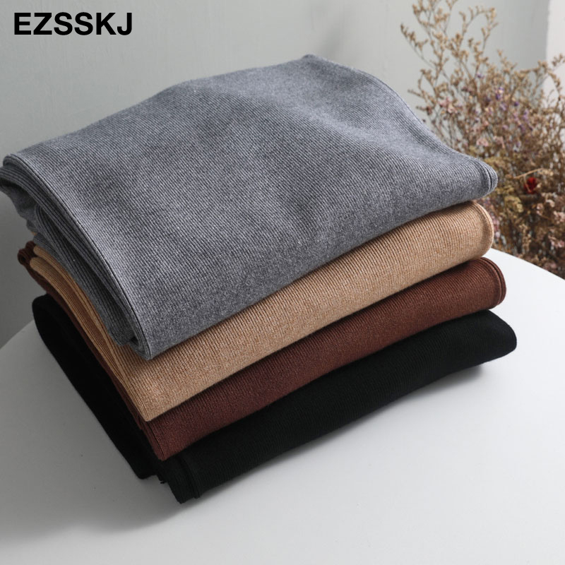 Image 3 - 2020 jesienno zimowa nowe grube dorywczo proste spodnie damskie kobiece sznurkiem luźny, dzianinowy spodnie szerokie nogawki spodnie typu casualSpodnie i spodnie capri   -