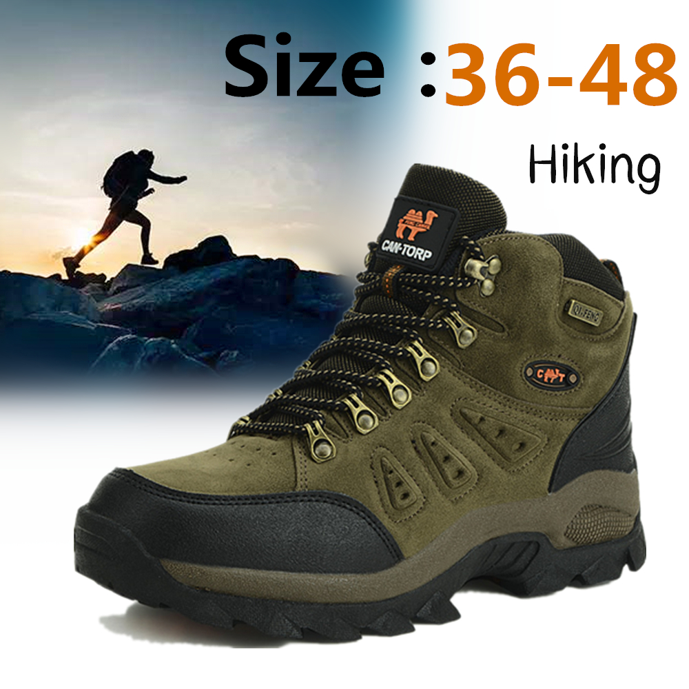 36-48 Autumn Winter Men Women Ankle Boots Leather Tactical Shoes Plus Anti-Skidding Classical Walking Footwear Free Shipping