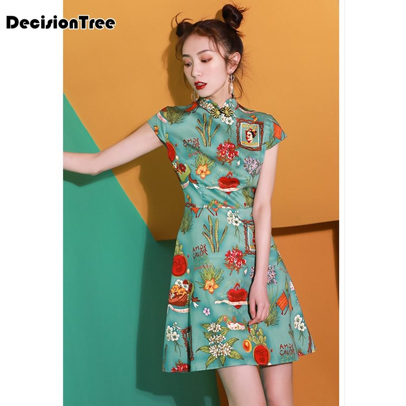 2020 Hot Sale Traditional Chinese Dresses Women Short Qipao Dress Lady Satin Qipao Sexy Printed A Linen Cheongsam Plus