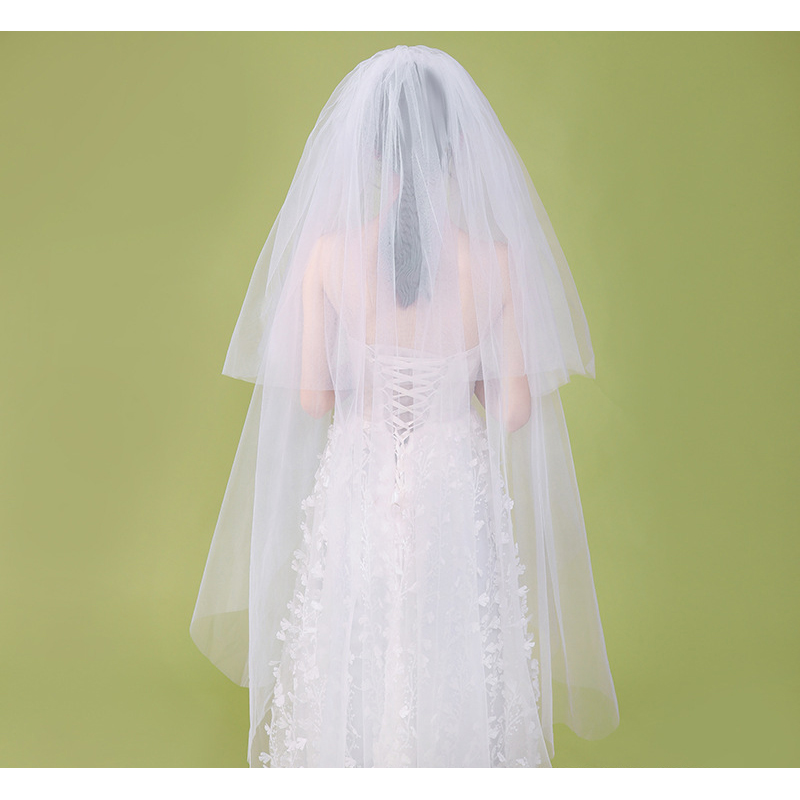 White Wedding Veils 2 Layers Soft Tulle with Comb Bridal Veils 1.3m Length High Quality Wedding Accessories