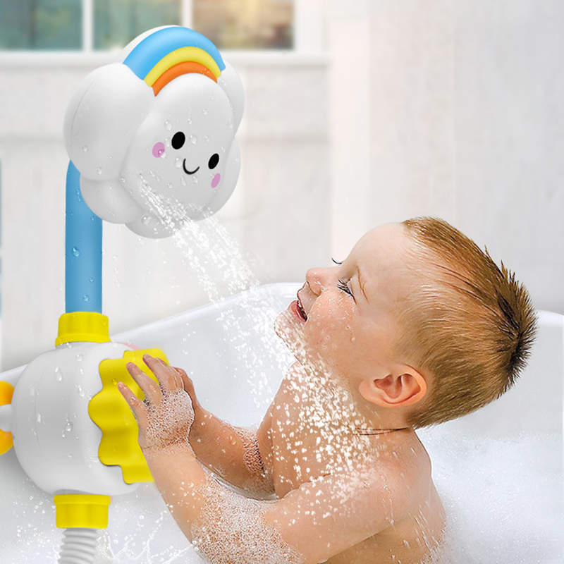 Funny Baby Bath Toy Cute Cartoon Clouds Electric Shower Faucet Spray Water Swimming Bathroom Suckers Water Toys Gifts For Baby