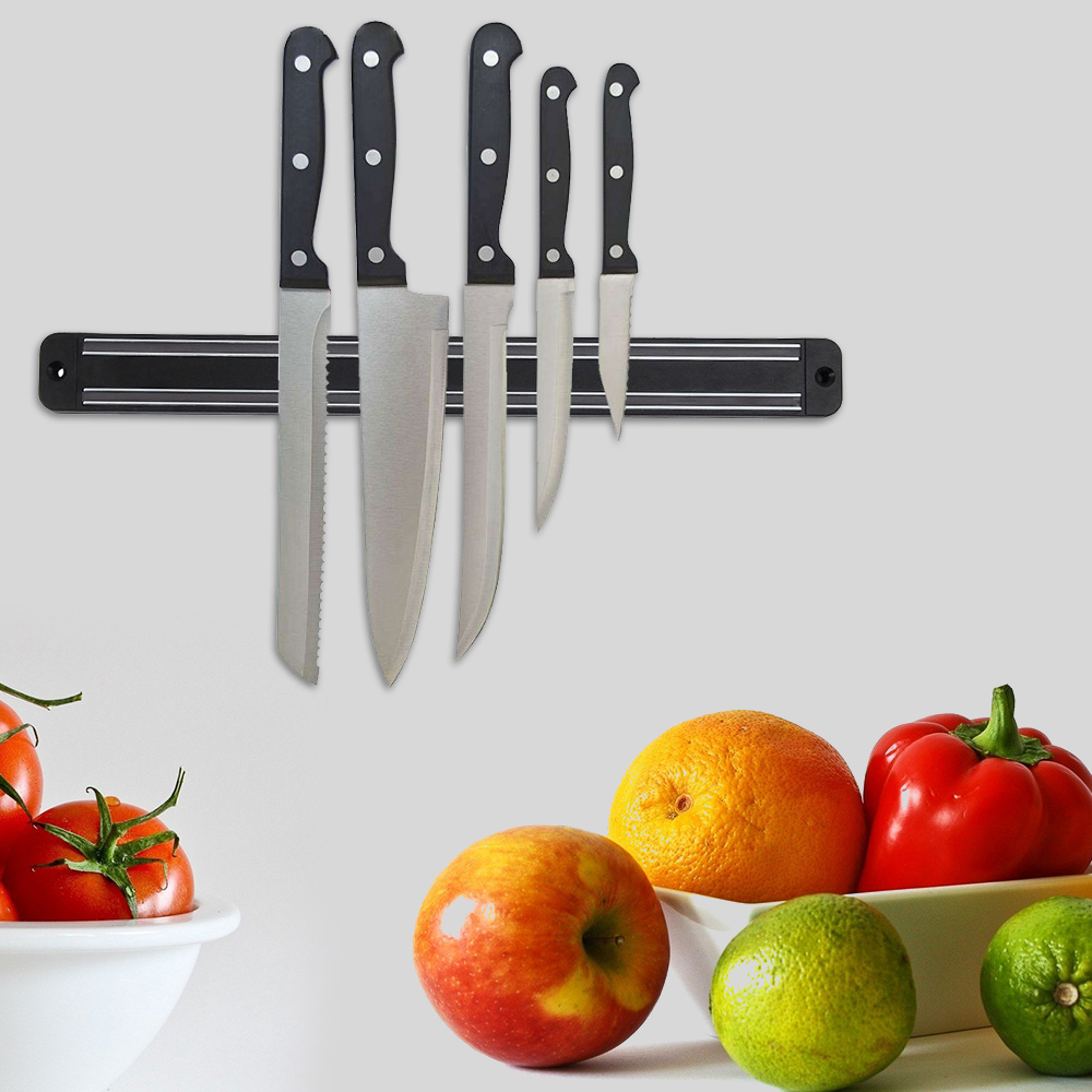13 Inch Magnetic Kitchen Knife Holder Bar Wall Mount ABS Metal Knife Stand For Block Magnet Knives Organizer Accessories
