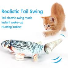 Cat Fish Toy Moving Fish Toys Catnip For Cat Realistic Plush Fish Stuffed Pillow Chew Bite Toy Kitten Fish Flop Cat Wagging Fish electric cat toys plush interactive electronic bite resistant chew molar moving dancing fish toy kitten grinding claw