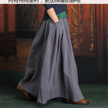 Free Shipping 2019 Long Maxi Cotton Linen Autumn And Winter Skirt For Women