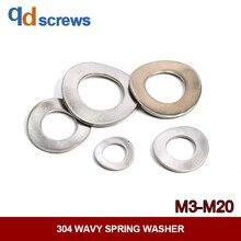 304 M3M4M5M6M8M10M12M14M16M18M20 stainless steel wavy spring washer Three Wave Peaks gasket DIN137