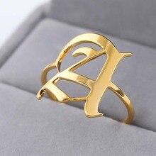 Женское кольцо с буквенным принтом, кольцо из нержавеющей стали, золотое, серебряное, мужские A-Z Кольца На заказ, Anillos Mujer, БУКВЕННОЕ кольцо для девушек