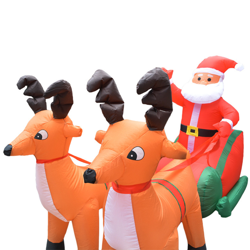 Рождественская надувная тележка с оленем, двойная Рождественская тележка с оленем, рождественское платье Санта Клауса, украшения, добро по... - 3