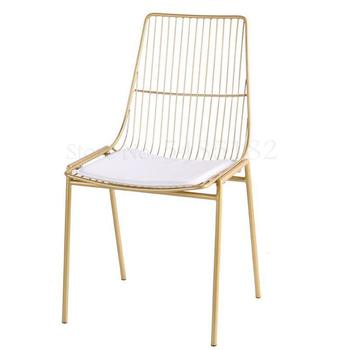New Nordic Tea Shop Iron Wire Dining Chair  Creative Leisure Cafe Table  Back  Designer