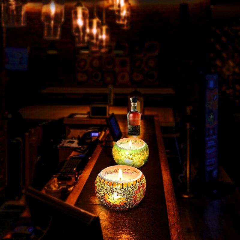 Parfum sans fumée aromathérapie bougie plante huile essentielle cire de soja naturelle bougie 4 pièces/ensemble mosaïque verre aromathérapie ensemble de bougies