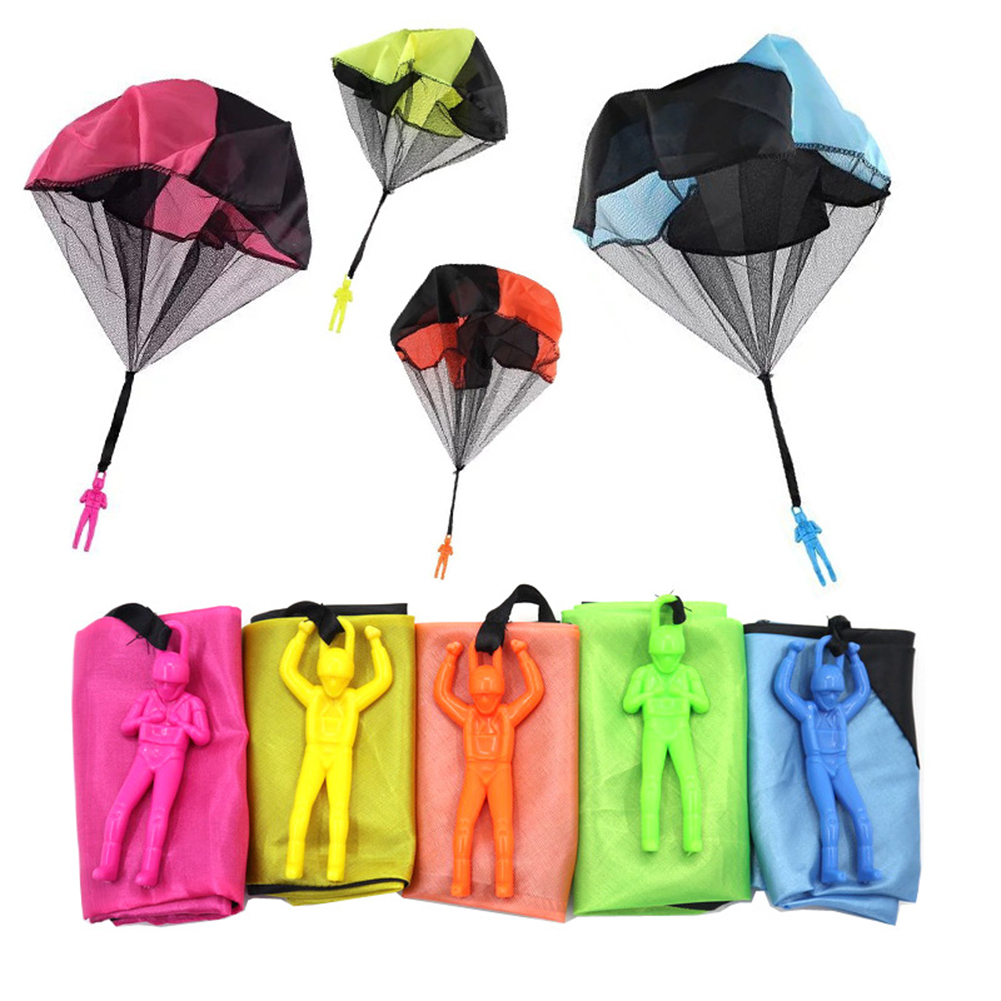 1Set Kids Hand Throwing Parachute Toy For Children's Educational Parachute With Figure Soldier Outdoor Fun Sports Play Game